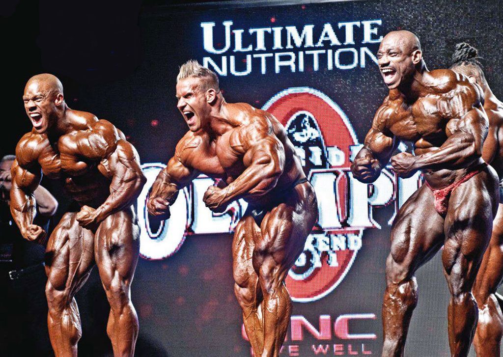 Mr Olympia 2012. Da sinistra Phil Heath, Jay Cutler e Dexter Jackson